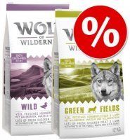 Wolf of Wilderness -säästösekoitus 2 x 12 kg - mix: Green Fields + Sunny Glade